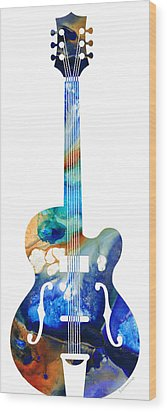 Vintage Guitar - Colorful Abstract Musical Instrument Wood Print by Sharon Cummings