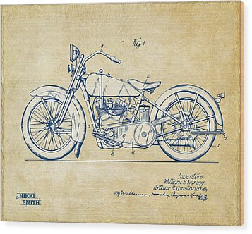 Vintage Harley-davidson Motorcycle 1928 Patent Artwork Wood Print by Nikki Smith