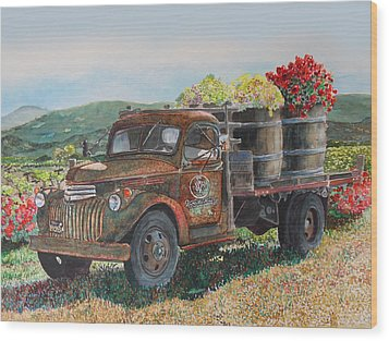 Wood Print featuring the painting Vintage Harvest by Gail Chandler