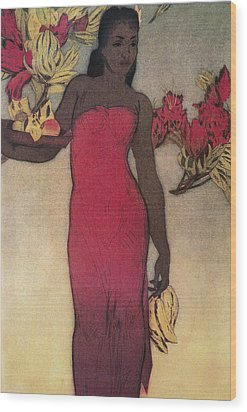 Vintage Hawaiian Woman Wood Print by Hawaiiam Legacy Archives - Printscapes
