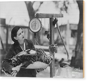 Vintage Holiday Card   Woman Weighing A Turkey Ahead Of The Holidays Wood Print by American School