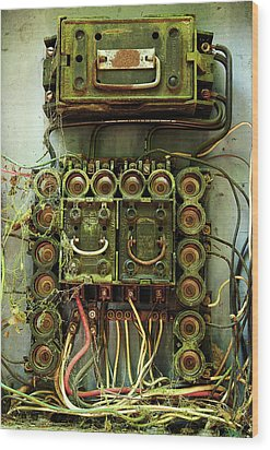 Vintage Household Fuse Box Wood Print by Michael Eingle