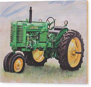 Vintage John Deere Tractor Wood Print by Toni Grote