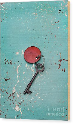 Wood Print featuring the photograph Vintage Key With Red Tag by Jill Battaglia