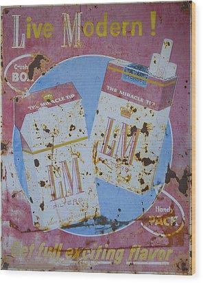 Vintage L And M Cigarette Sign Wood Print