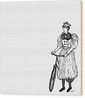 Vintage Lady With Bicycle Wood Print by Karl Addison