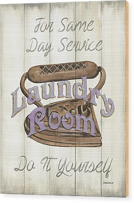 Wood Print featuring the painting Vintage Laundry Room 1 by Debbie DeWitt