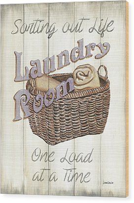 Wood Print featuring the painting Vintage Laundry Room 2 by Debbie DeWitt