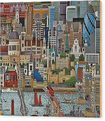 Wood Print featuring the drawing Vintage London by Digital Art Cafe