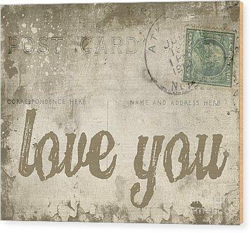 Vintage Love Letters Wood Print by Edward Fielding