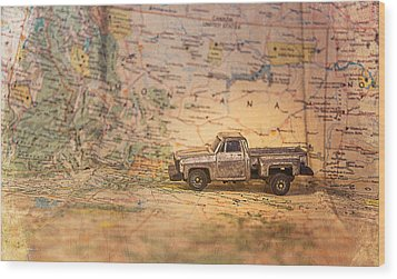 Wood Print featuring the photograph Vintage Map And Truck by Mary Hone