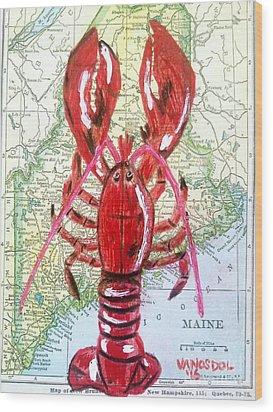 Vintage Map Maine Red Lobster Wood Print by Scott D Van Osdol