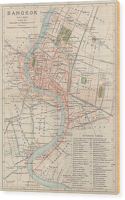 Wood Print featuring the drawing Vintage Map Of Bangkok, Thailand From 1920 by Blue Monocle