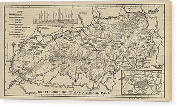 Wood Print featuring the drawing Vintage Map Of Great Smoky Mountains National Park From 1941 by Blue Monocle