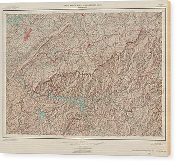 Wood Print featuring the drawing Vintage Map Of Great Smoky Mountains National Park - Usgs Topographic Map - 1949 by Blue Monocle