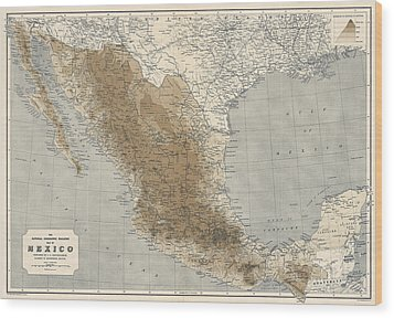 Wood Print featuring the drawing Vintage Map Of Mexico - 1911 - National Geographic by Blue Monocle