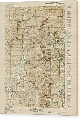Wood Print featuring the drawing Vintage Map Of Rocky Mountain National Park - Colorado - 1919/1940 by Blue Monocle
