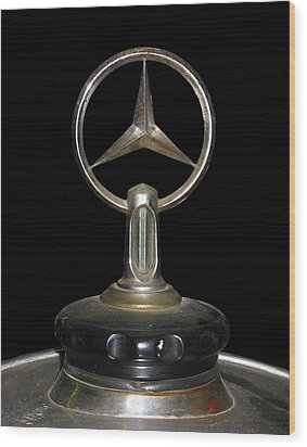 Wood Print featuring the photograph Vintage Mercedes Radiator Cap by David and Carol Kelly