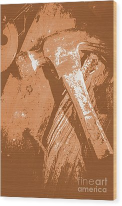 Vintage Miners Hammer Artwork Wood Print
