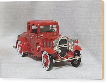 Wood Print featuring the photograph Vintage Model Fire Chiefcar by Linda Phelps