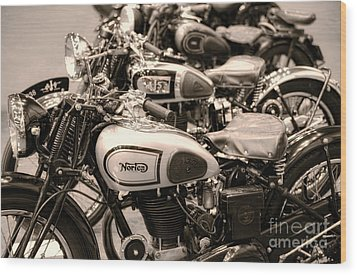 Vintage Motorcycles Wood Print