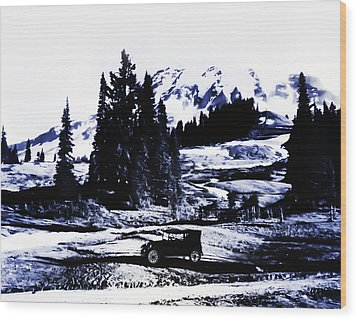 Vintage Mount Rainier With Antique Car Early 1900 Era... Wood Print