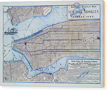 Vintage New York Map Wood Print by Delphimages Photo Creations