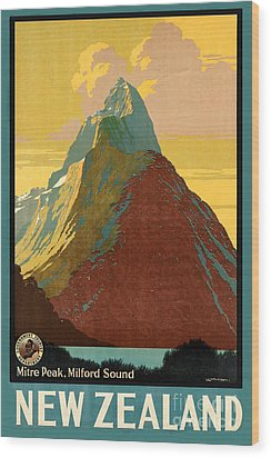 Vintage New Zealand Travel Poster Wood Print