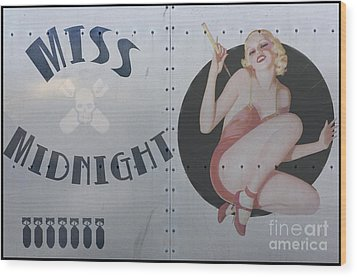 Vintage Nose Art Miss Midnight Wood Print by Cinema Photography