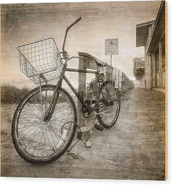 Vintage Ol' Bike Wood Print by Debra and Dave Vanderlaan