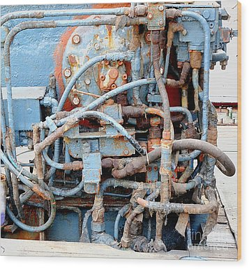 Wood Print featuring the photograph Vintage Old Diesel Engine On A Ship by Yali Shi