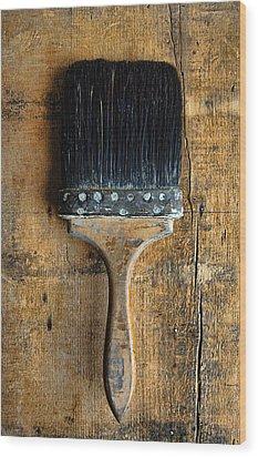 Vintage Paint Brush Wood Print