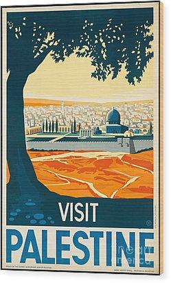 Vintage Palestine Travel Poster Wood Print by George Pedro