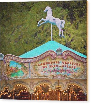 Wood Print featuring the photograph Vintage Paris Carousel by Melanie Alexandra Price