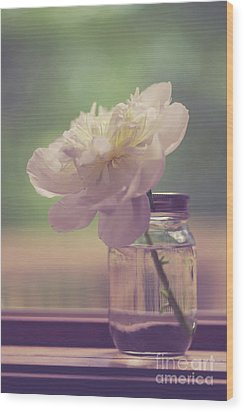 Wood Print featuring the photograph Vintage Peony Flower Still Life by Edward Fielding