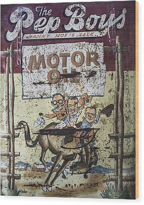 Wood Print featuring the photograph Vintage Pep Boys Sign by Christina Lihani