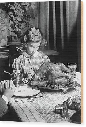 Vintage Photo Depicting Thanksgiving Dinner Wood Print by American School