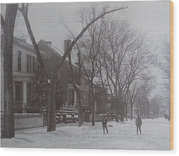 Vintage Photograph 1902 Snowball Fight New Bern Nc Wood Print by Virginia Coyle