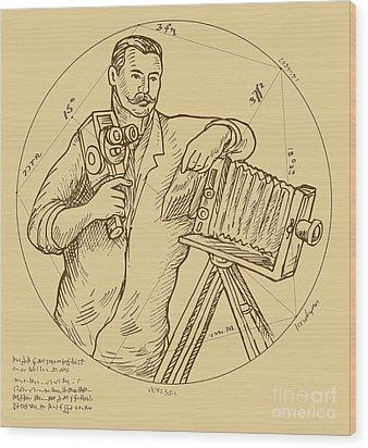 Vintage Photographer Video Camera Wood Print by Aloysius Patrimonio