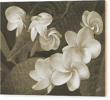 Vintage Plumeria Wood Print by Ben and Raisa Gertsberg