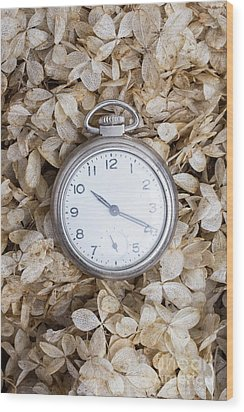 Wood Print featuring the photograph Vintage Pocket Watch Over Dried Flowers by Edward Fielding