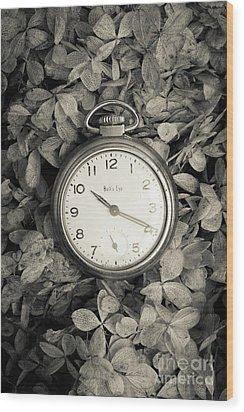 Vintage Pocket Watch Over Flowers Wood Print by Edward Fielding