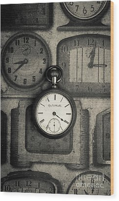 Wood Print featuring the photograph Vintage Pocket Watch Over Old Clocks by Edward Fielding