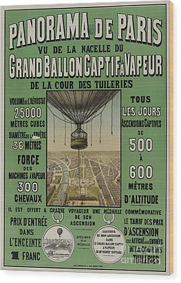 Wood Print featuring the photograph Vintage Poster Of Great Balloon View Of Paris 1878 by John Stephens