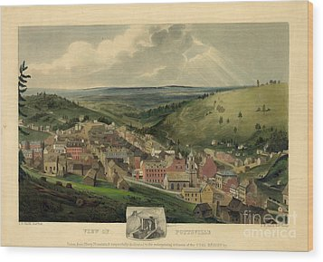 Wood Print featuring the photograph Vintage Pottsville Pennsylvania Etching With Remarque by John Stephens