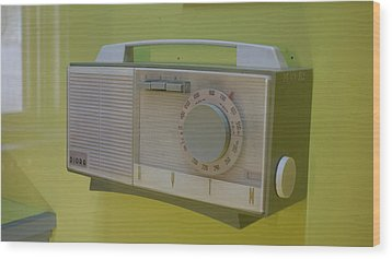 Wood Print featuring the photograph Vintage Radio With Lime Green Background by Matthew Bamberg