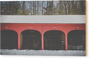 Vintage Red Carriage Barn Lyme Wood Print by Edward Fielding
