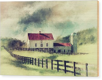 Wood Print featuring the digital art Vintage Red Roof Barn by Lois Bryan