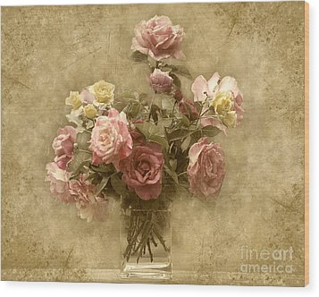Wood Print featuring the photograph Vintage Roses by Cheryl Davis