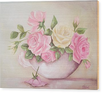 Vintage Roses Shabby Chic Roses Painting Print Wood Print by Chris Hobel